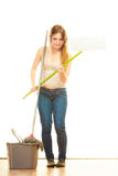 Tired cleaning woman mopping floor Royalty Free Stock Photography
