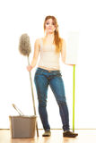 Tired cleaning woman mopping floor. Spring cleaning despair concept. Tired woman mopping floor. Girl upset and fed up about housework white background Royalty Free Stock Photo
