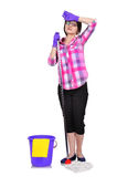 Tired  cleaning woman Royalty Free Stock Image