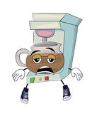 Tired Coffee maker cartoon Royalty Free Stock Photos