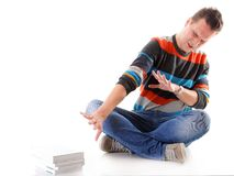 Tired college student with stack of books isolated Stock Image