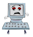 Tired Computer cartoon Stock Images