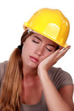 Tired construction worker Royalty Free Stock Image