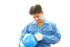 Tired construction worker Royalty Free Stock Photography