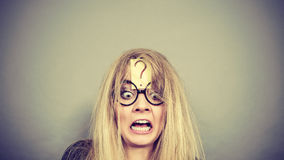 Tired crazy woman after intensive thinking Stock Photography