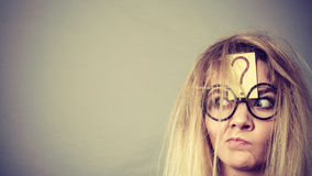 Tired crazy woman after intensive thinking Royalty Free Stock Photo