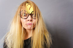 Tired crazy woman after intensive thinking Stock Images