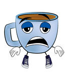 Tired Cup of coffee cartoon Royalty Free Stock Photography