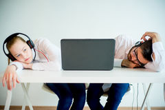 Tired customer service agents Stock Photography