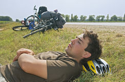 Tired Cyclist Stock Images