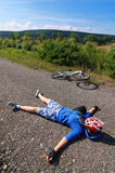 Tired cyclist Royalty Free Stock Image