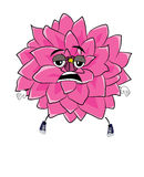 Tired dahlia flower cartoon Royalty Free Stock Photography
