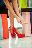 Tired of day shopping. Stock Images