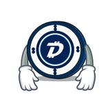 Tired Digibyte coin mascot cartoon. Vector illustration Royalty Free Stock Images