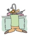 Tired Dishwasher Man Royalty Free Stock Photo