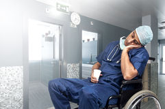 Tired doctor Royalty Free Stock Image