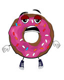 Tired doughnut cartoon Royalty Free Stock Images