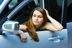 Tired driver in the car. Royalty Free Stock Photos