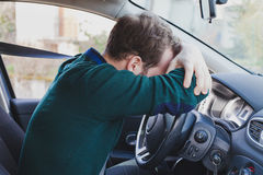 Tired driver in the car Royalty Free Stock Photos