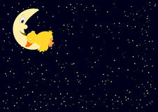 Tired duck on the moon. Many stars Royalty Free Stock Photos
