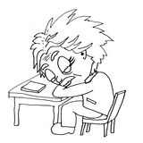 Tired einstein sleeps at the table hand-drawn Royalty Free Stock Photography