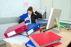 Tired the employee of office. To which it still more many work Royalty Free Stock Images
