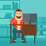 Tired employee sitting in office. Royalty Free Stock Photography