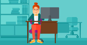 Tired employee sitting in office. Stock Image