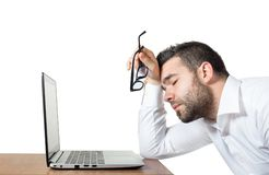 Tired employee stressed enough to sleep Royalty Free Stock Photo
