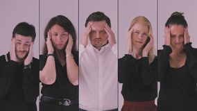 Business team portrait. Tired exhausted business team relieving headache with temple massage stock footage