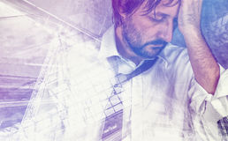 Tired exhausted businessman in trouble, double exposure Stock Image