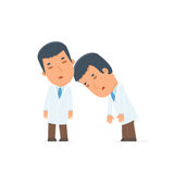 Tired and Exhausted Character Doctor sleeping on the shoulder of Royalty Free Stock Photography