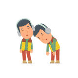Tired and Exhausted Character Winter Citizen sleeping on the shoulder Royalty Free Stock Photography