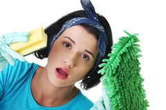 Tired and exhausted cleaning woman Stock Image