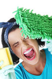 Tired and exhausted cleaning woman Stock Photography