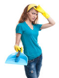 Tired and exhausted cleaning woman Royalty Free Stock Photos