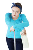 Tired and exhausted cleaning woman Stock Photos