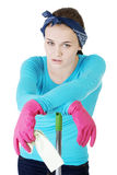 Tired and exhausted cleaning woman Royalty Free Stock Image