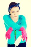 Tired and exhausted cleaning woman Royalty Free Stock Photo