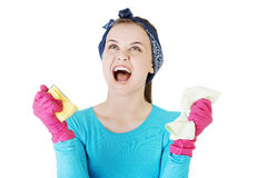 Tired and exhausted cleaning woman screaming Stock Image