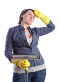 Tired and exhausted after a middle-aged housewife. Stock Photo