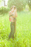 Tired farmer royalty free stock photography