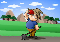 Tired farmer on farm field. Illustration of a tired farmer on farm field background Stock Photos