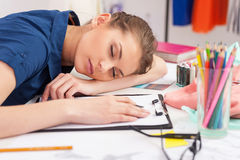 Tired fashion designer. Stock Photo