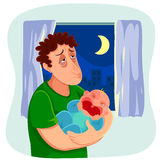 Tired father with crying baby Stock Photography