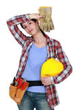 Tired female builder Stock Image