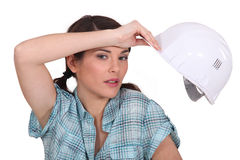 Tired female manual worker Stock Photos