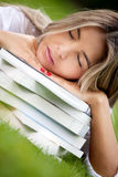 Tired female student Stock Images