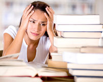 Tired female student Royalty Free Stock Image