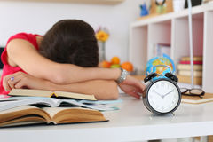 Tired female student at workplace Royalty Free Stock Images